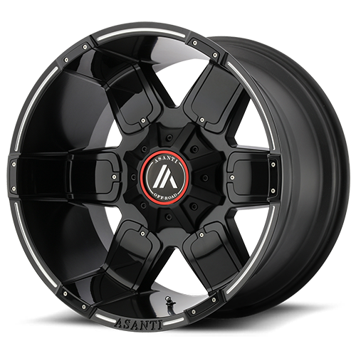 Asanti Wheels - AB811 Warthog Satin Black Milled w/ Gloss Black Accents 6 lug