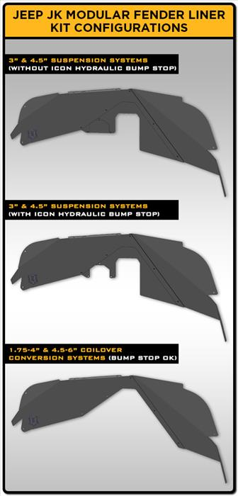 07-18 JK MODULAR FRONT FENDER LINER KIT RAW