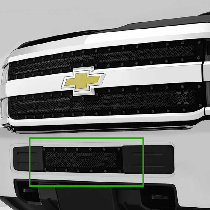 Chevrolet Silverado HD X-METAL Series - Studded Bumper Grille - ALL Black