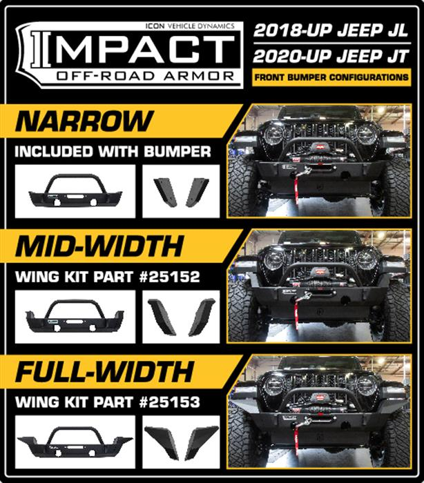 18-UP JEEP JL / 20-UP JT FRONT IMPACT MID WIDTH WINGS