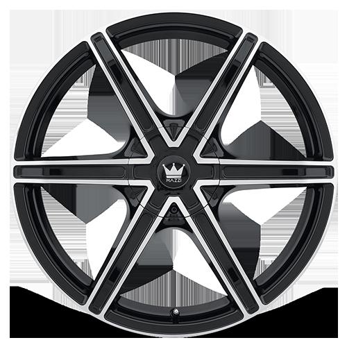 0 x 9.5 inches //5 x 115 mm, 18 mm Offset MAZZI STILTS BLACK Wheel MACHINED FACE 371
