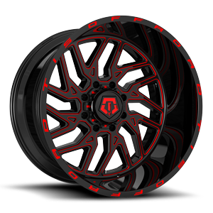 544 Gloss Black w/ Red CNC Milled Accents 8 lug
