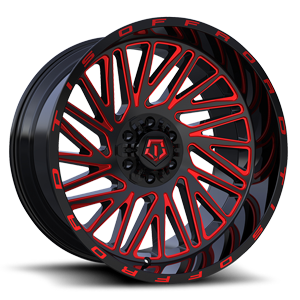 553 Gloss Black with Red Milling 6 lug