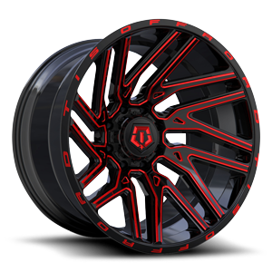554 Gloss Black with Red Milling 8 lug