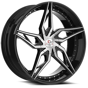 CLV-38 Gloss Black Machined 5 lug