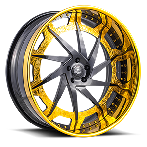 Diamonte Gloss Black w/ Gold Accents 5 lug