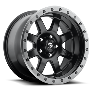 Trophy - D551 Matte Black w/ Anthracite Ring 5 lug