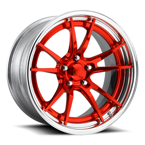 Grand Prix Concave - U537 Candy Red w/ Polish Lip 5 lug