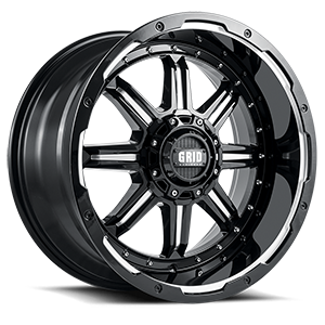 GD10 Gloss Black Milled 6 lug
