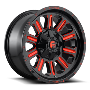 Hardline - D621 6 18X9 +1 | Gloss Black w/ Candy Red