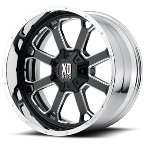 XD202 Buck 25 Gloss Black Milled Center w/ Chrome Lip 6 lug