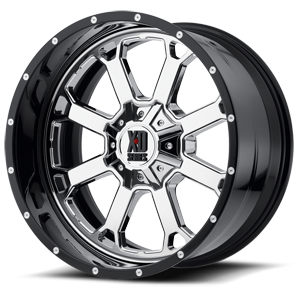 XD202 Buck 25 Chrome Center w/ Gloss Black Milled Lip 6 lug