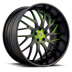 SV70-XLT Matte Black w/ Green Accents 5 lug