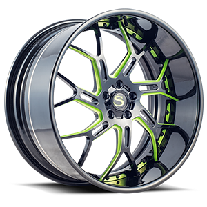 SV72-XLT Gloss Black w/ Green Accents 5 lug