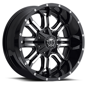 535 Gloss Black with Machined Face and Chrome Star Cap 5 lug