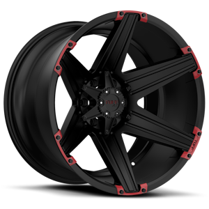 T-12 Satin Black with Red Inserts 5 lug