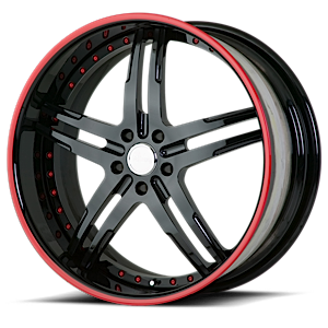 VSU Black with Red Pinstripe 5 lug
