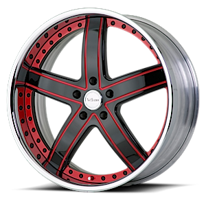 VTL Black and Red with Chrome Lip 6 lug