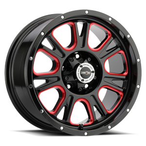399 Fury 5 Gloss Black Ball Cut Machined with Red Tint