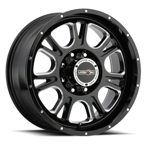 399 Fury Gloss Black with Milled Spoke 8 lug