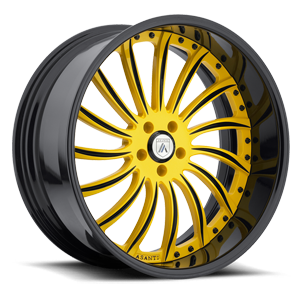 Asanti Wheels - AF815 Custom-Yellow with Black Lip 5 lug