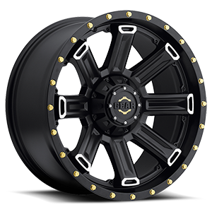 738 Switchback 6 Satin Black with Mirror Machined Spoke Accents and Gold-Tone Cadmium Plated Bolts