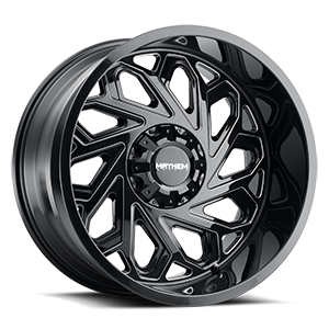 8112 Essex Gloss Black Milled Spokes 6 lug