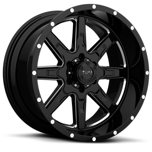 T-15 Gloss Black Milled Spokes 6 lug