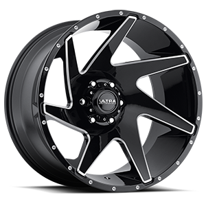 206 Vortex Gloss Black with Milling and Clear Coat - 22x12 6 lug