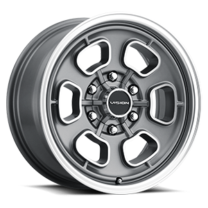 148 Shift Satin Grey Machined Face/Lip 6 lug