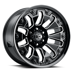 362 Armor 6 Gloss Black Milled Spokes/Black Bolts