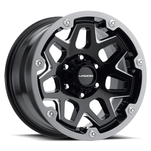 416 Se7en Gloss Black Milled Spokes 6 lug