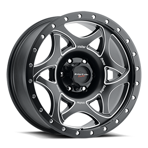 501 Legend II Satin Black with Milled Accents and Satin Black X-lok Lip Satin Clear-Coat 6 lug