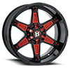 6 LUG 827 WARRIOR GLOSS BLACK W/ RED ACCESSORIES