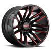 6 LUG MO978 RAZOR SATIN BLACK MACHINED W/ RED CLEAR COAT