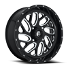 Triton - D581 - UTV 20x7 | 4 Lug | Gloss Black & Milled