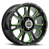 399 Fury Gloss Black Ball Cut Machined with Green Tint
