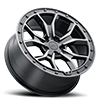 5 LUG MORLAND GLOSS METALLIC BLACK W/ BRUSHED TINTED FACE & BLACK BOLTS
