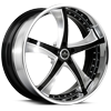 5 LUG SV29-S BLACK AND BRUSHED WITH WHITE