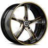 5 LUG SV29-S BLACK AND BRUSHED WITH YELLOW
