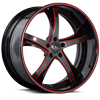 5 LUG SV29-S BLACK AND RED WITH CARBON