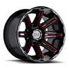 8 LUG RAMPAGE GLOSS BLACK MILLED RED