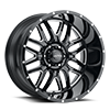 203 Hunter Gloss Black with Milled Accents and Clear Coat - 22x12