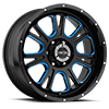 6 LUG 399 FURY GLOSS BLACK BALL CUT MACHINED WITH BLUE TINT